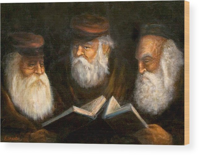 Praying Oldcountry Jewish  Men  Beards  Portraits  Books  Wood Print featuring the painting Evening Prayers by Edward Farber