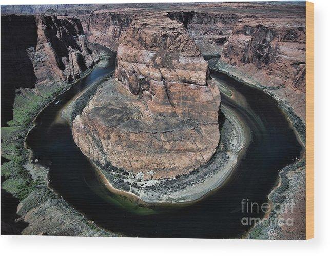 Horseshoe Bend Wood Print featuring the photograph Evening Tones Horseshoe Bend Arizona Landscape by Chuck Kuhn
