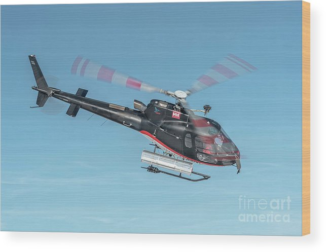 Eurecuil Wood Print featuring the photograph F-gsdg Eurocopter As350 Helicopter In Blue Sky by Roberto Chiartano