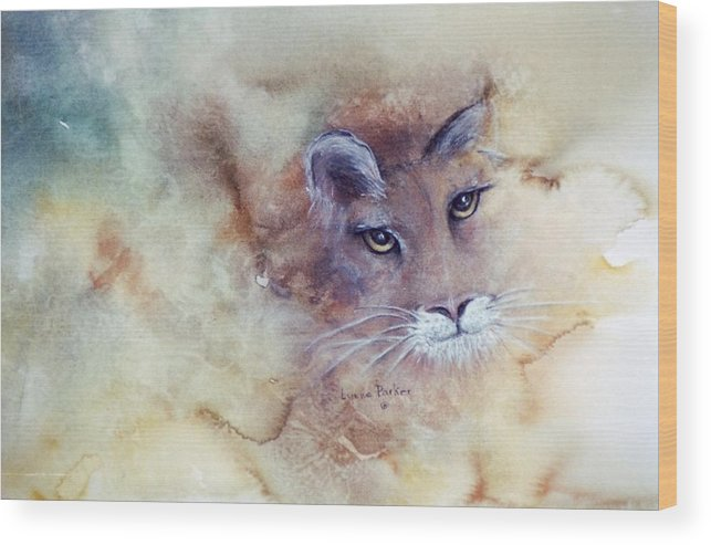Cougar Face Wood Print featuring the painting Face With In by Lynne Parker