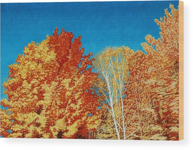 Fall Color Wood Print featuring the painting Fall by Allan OMarra