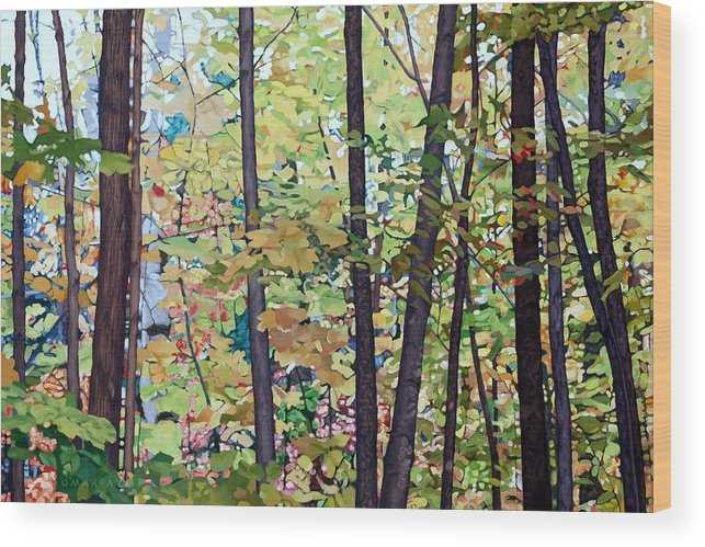 Landscape Wood Print featuring the painting Fall Colour Medley by Allan OMarra