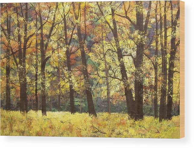 A Painting A Day Wood Print featuring the painting Fall Oaks In El Capitan Meadow Yosemite National Park by Connie Tom