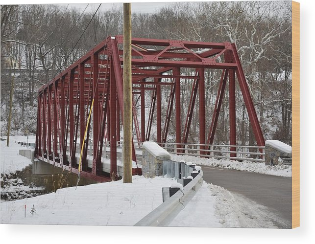 Winter Wood Print featuring the photograph Falls Village Bridge 1 by Nina Kindred