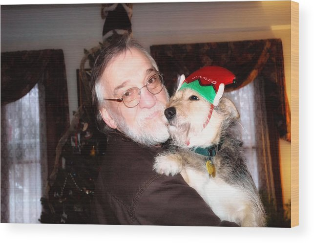 Dog Wood Print featuring the photograph Father And Son At Christmas by Ross Powell