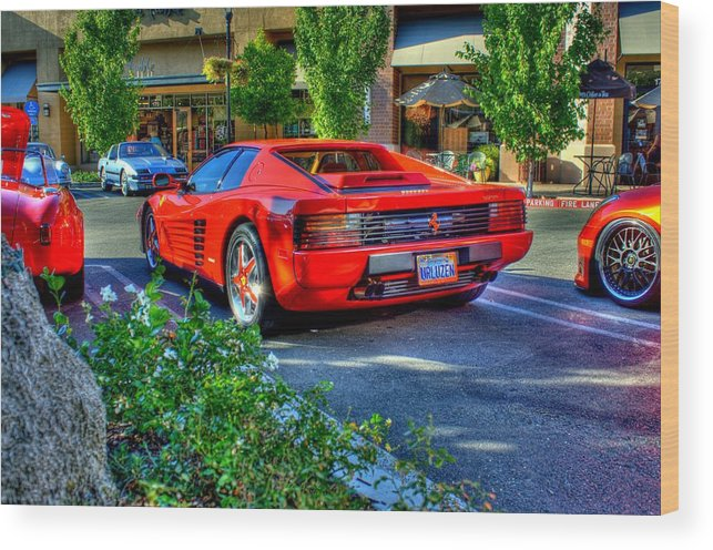 Hdr Wood Print featuring the photograph Ferrari From Afar by Randy Wehner Photography