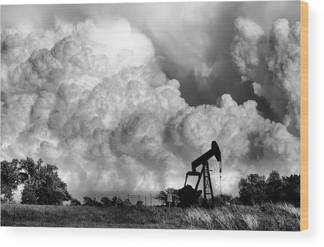 Oil Rig Wood Print featuring the photograph Field Of Nightmares by Karen Scovill