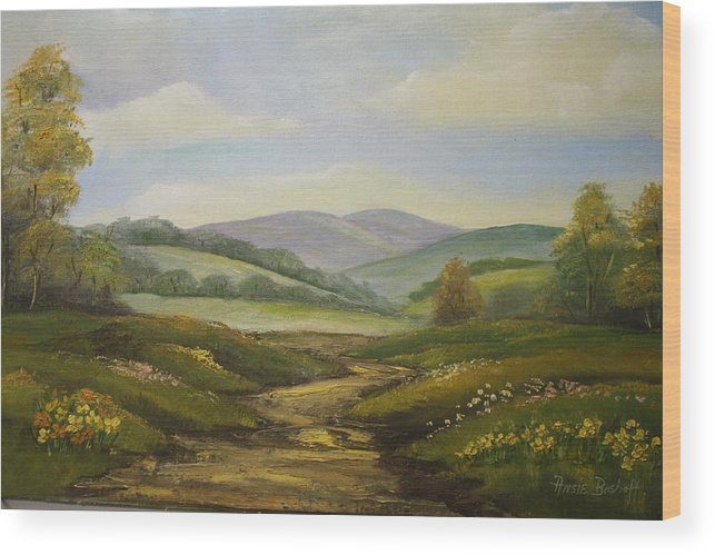 Landscapes Wood Print featuring the painting Fields In Summer by Ansie Boshoff