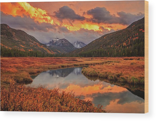 Autumn Wood Print featuring the photograph Fiery Bear River Sunset by Johnny Adolphson