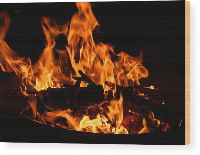 Firepit Wood Print featuring the photograph Firepit by Kathryn Meyer