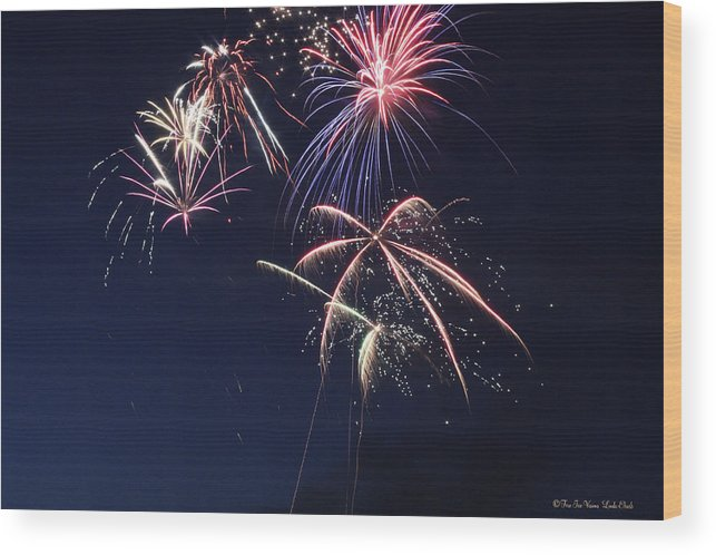 Fireworks Wood Print featuring the photograph Fireworks by Linda Ebarb