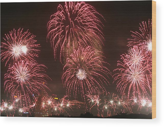 Fireworks Wood Print featuring the photograph Fireworks by Mark Mah