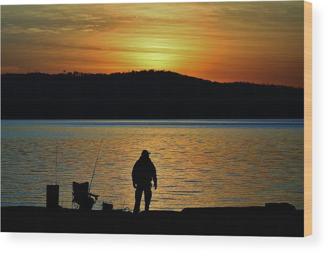 Hudson Valley Landscapes Wood Print featuring the photograph Fishing Along The Hudson by Thomas McGuire