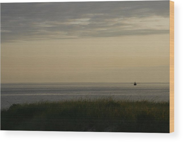 Trawler Wood Print featuring the photograph Fishing Boat Off Montauk by Christopher Kirby