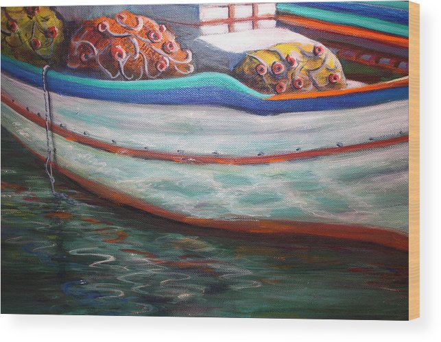 Boat Wood Print featuring the painting Fishing Boatgreek by Yvonne Ayoub