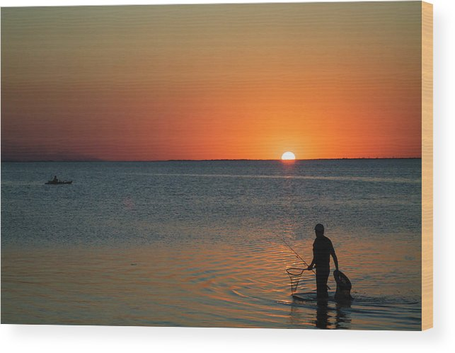 Fishing Wood Print featuring the photograph Fishing For Light by Doc Hafferty