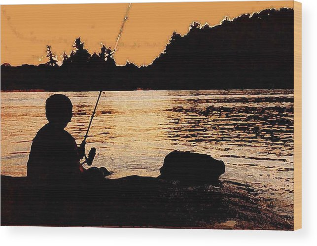 Landsape Wood Print featuring the photograph Fishing From A Rock Ae by Lyle Crump