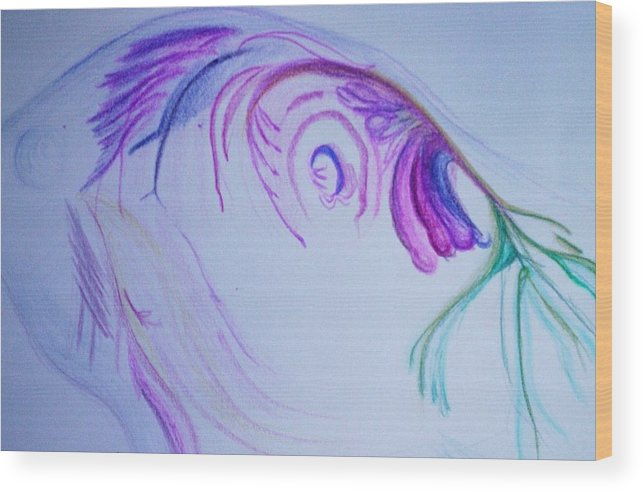 Abstract Painting Wood Print featuring the painting Fishy by Suzanne Udell Levinger