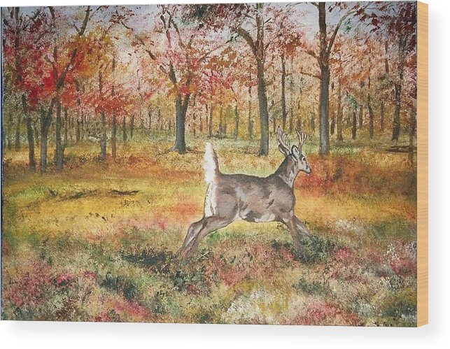 Fall Colors Wood Print featuring the painting Flag by Debra Sandstrom