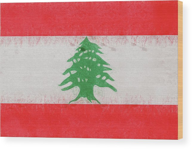 Arab Wood Print featuring the digital art Flag Of Lebanon Grunge by Roy Pedersen
