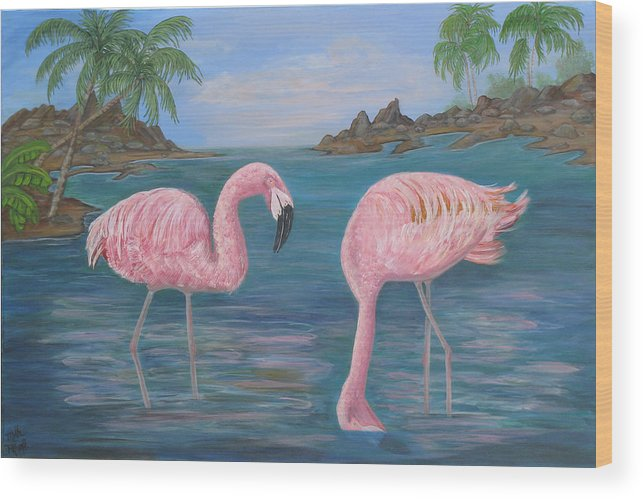 Flamingo Wood Print featuring the painting Flamingo Cove by Mikki Alhart