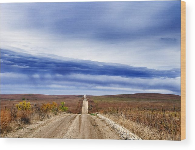 Road Wood Print featuring the photograph Flint Hills Rollers by Eric Benjamin