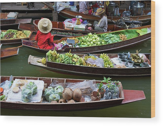 Asian Wood Print featuring the photograph Floating Market by Jirawat Cheepsumol