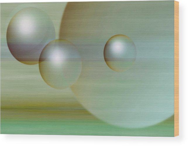 Planet Wood Print featuring the digital art Floating Spheres by Gae Helton