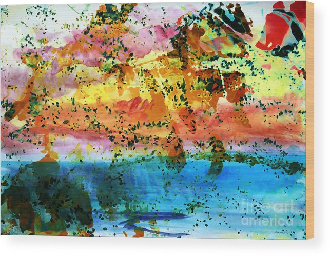 Abstract Wood Print featuring the painting Rustic Landscape Abstract D2131716 by Mas Art Studio