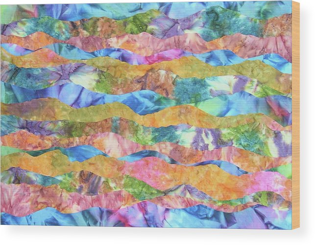 Abstract Wood Print featuring the painting Flow Of Life by Bonnie Lanzillotta