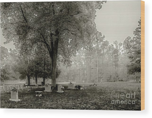 Fog Wood Print featuring the photograph Fog In Cemetery 2383gt_s2 by Doug Berry