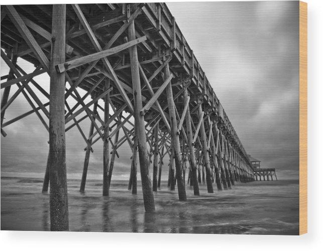 Folly Beach Wood Print featuring the photograph Folly Beach Pier Black And White by Dustin K Ryan