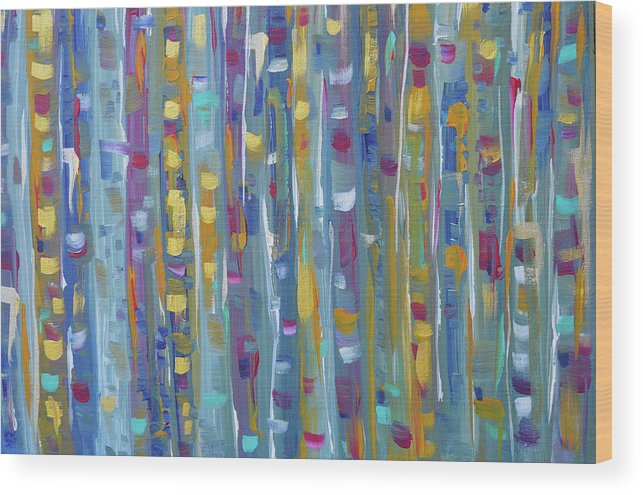 Teal Abstract Wood Print featuring the painting Forest Through The Trees, Abstract Art by Kathy Symonds