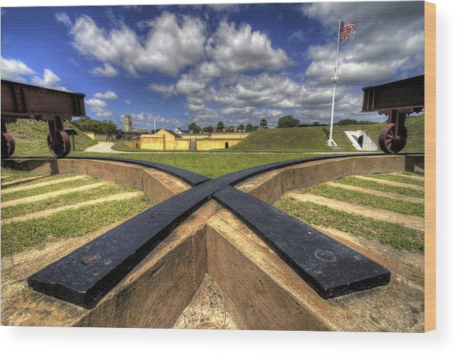 Fort Wood Print featuring the photograph Fort Moultrie Cannon Tracks by Dustin K Ryan