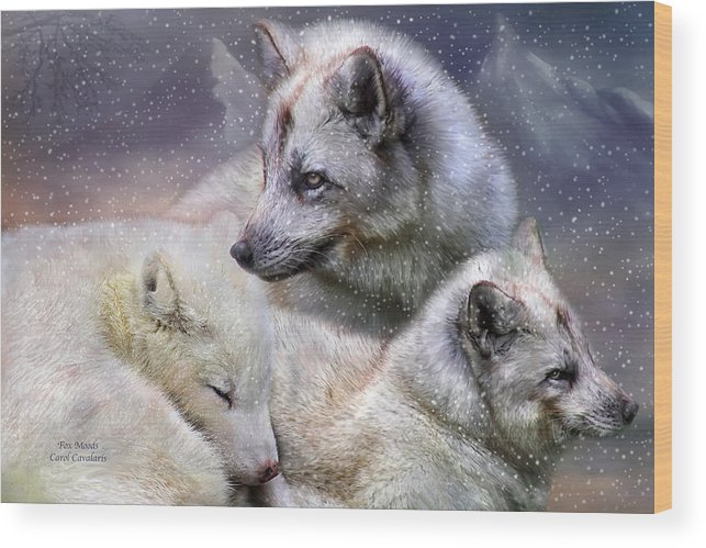 Fox Wood Print featuring the mixed media Fox Moods by Carol Cavalaris