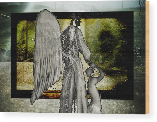 Digital Wood Print featuring the photograph Framed Angel by Tony Wood