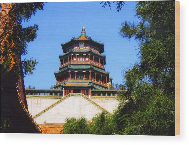 China Wood Print featuring the photograph Framed Summer Palace by Robert M Brown II