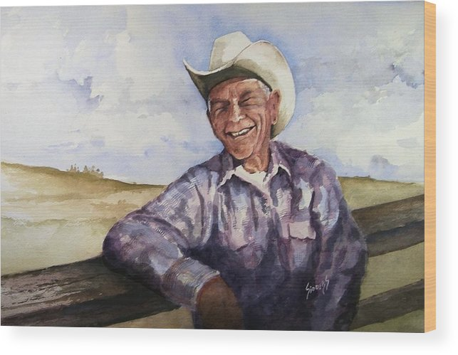 Cowboy Smile Friendly Happy Texan Texas Music Fiddler Wood Print featuring the painting Frankie by Sam Sidders
