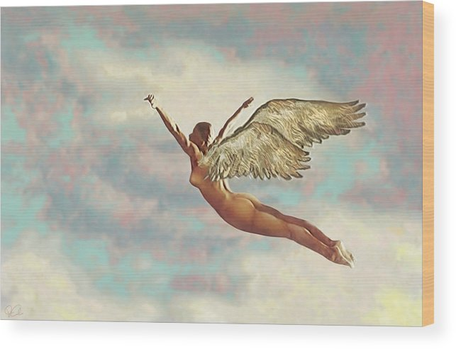 Angel Clouds Female Flight Flying Nude Religious Sky Wings Wood Print featuring the digital art Free Falling by Van Cordle