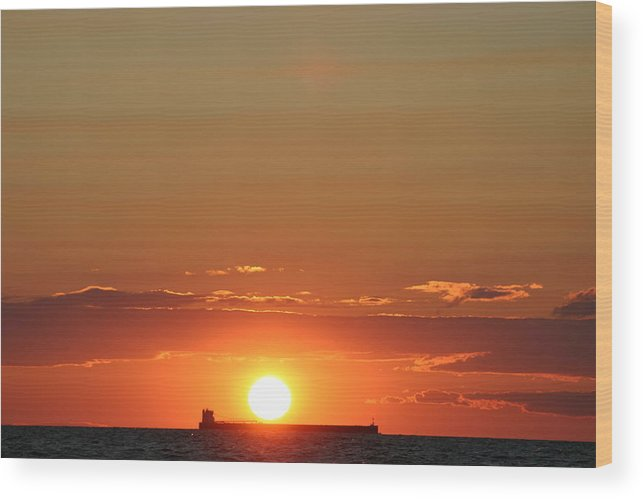 Sunset Wood Print featuring the photograph Freighter Sunset by Kevin Dunham
