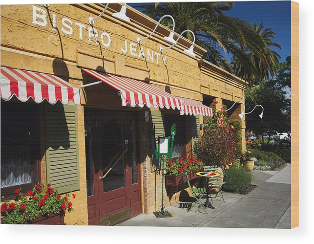 Entrance Wood Print featuring the photograph French Bistro by George Oze
