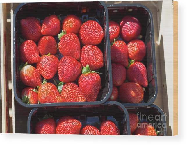 Fresh Wood Print featuring the photograph Fresh Ripe Strawberries In Plastic Boxes by Louise Heusinkveld