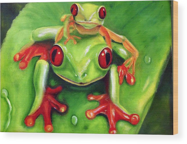 Red Eyed Tree Frog Wood Print featuring the painting Frog Rodeo by Darlene Green