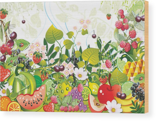 Fruits Wood Print featuring the digital art Fruit Garden by Lesley Smitheringale