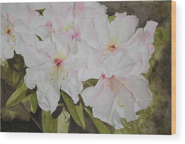 Flowers Wood Print featuring the painting Full Bloom by Jean Blackmer