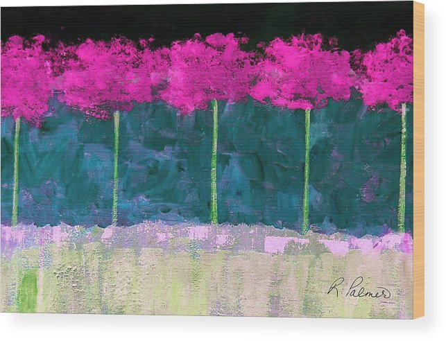 Abstract Wood Print featuring the painting Fuschia Trees by Ruth Palmer