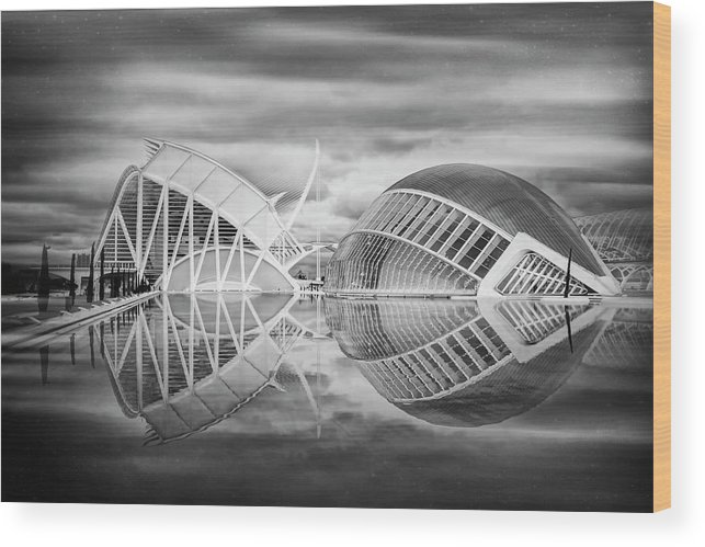 Valencia Wood Print featuring the photograph Futuristic Architecture Of Modern Valencia Spain In Black And Wh by Carol Japp