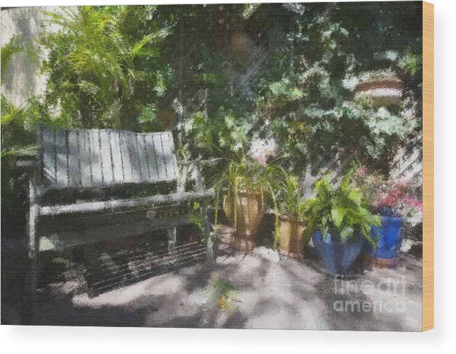 Garden Bench Flowers Impressionism Wood Print featuring the photograph Garden Bench by Sheila Smart Fine Art Photography