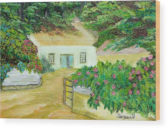 Garden Wood Print featuring the painting Garden by Cary Singewald