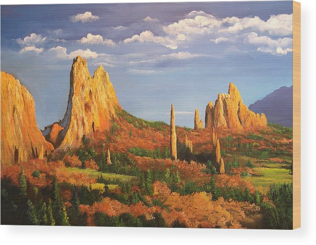 Connie Tom Wood Print featuring the painting Garden Of The Gods by Connie Tom